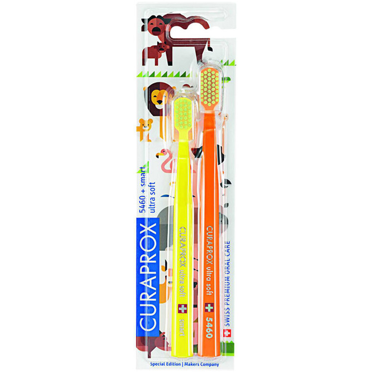 Набор из 2-х зубных щеток CURAPROX CS 5460 + CS smart  Duo Animal Family Edition