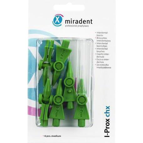 Miradent I-Prox chx green, 6 шт - ершики с держателями, зеленые