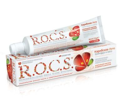 Зубная паста ROCS (РОКС) Карибское лето. Грейпфрут и Мята, 74 г.