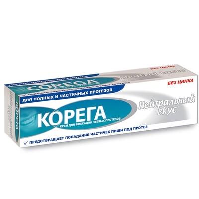 Корега крем для фиксации зубных протезов Нейтральный вкус, 40 г