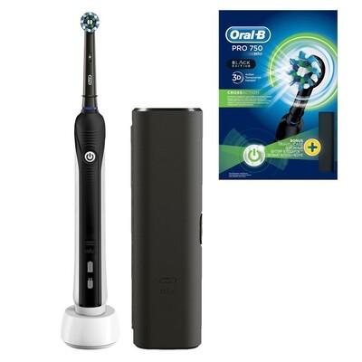 Электрическая зубная щетка Oral-B Pro 750 CrossAction D16 Black + футляр