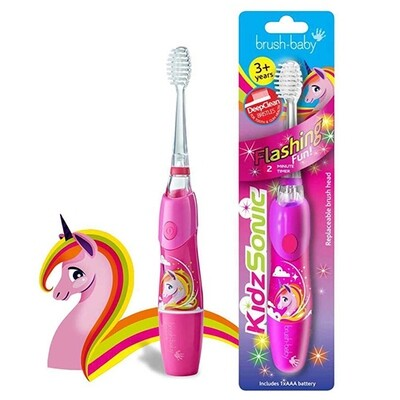 Электрическая зубная щетка Brush-Baby KidzSonic (с 3 лет), единорог
