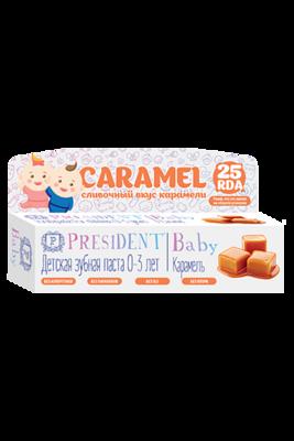 Детская зубная гель-паста PresiDENT Baby Caramel 0-3 со вкусом карамели, 30 мл
