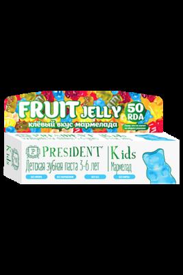 Детская зубная гель-паста PRESIDENT® KIDS 3-6 FRUIT JELLY со вкусом мармелада (без фтора), 50 мл.