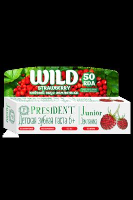 Детская зубная гель-паста PresiDENT Junior Wild Strawberry 6+ лет со вкусом земляники, 50 мл