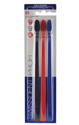 Набор отбеливающих зубных щеток SWISSDENT Profi Colours Средне-мягкие