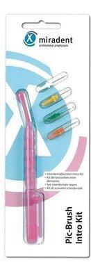 Miradent Pic-Brush Intro Kit Pink (ручка розовая + 4 ёршика разного размера)