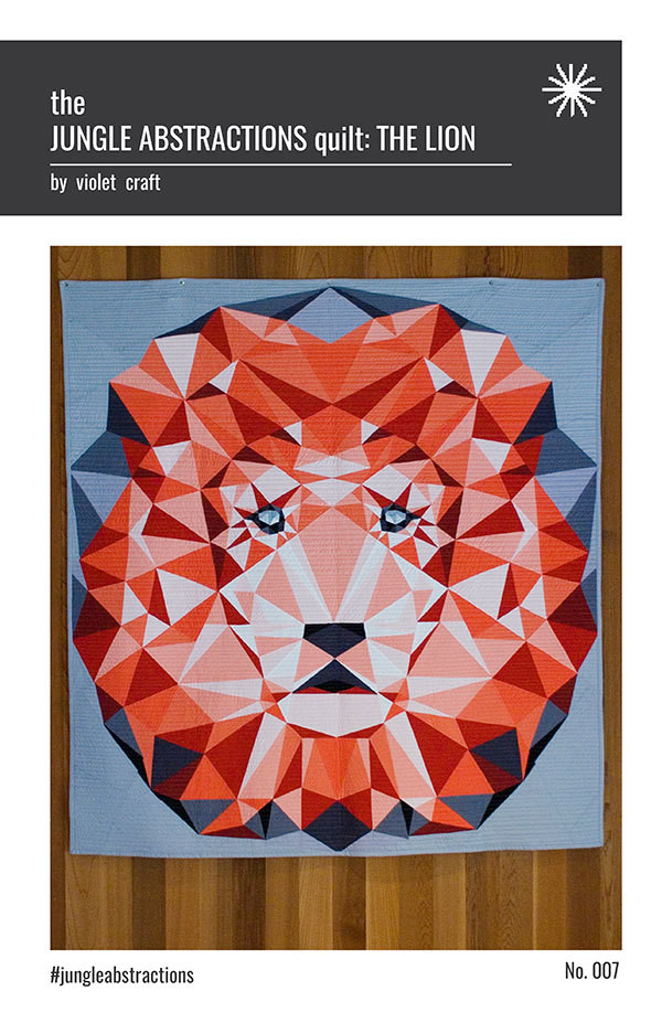 """Jungle Abstractions Quilt: THE LION 60"""" x 60"""""""