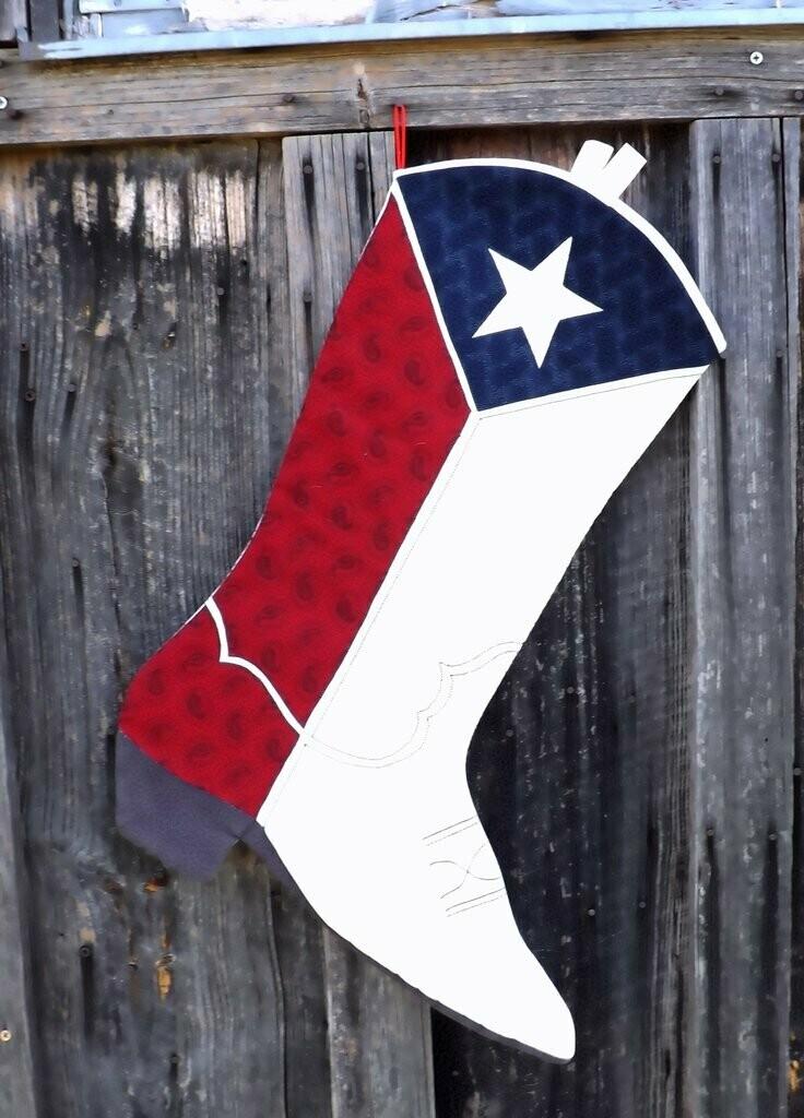 Texas Boot Christmas Stocking