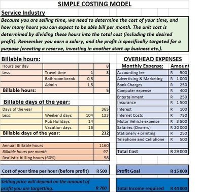 Costing Template - Service Industry
