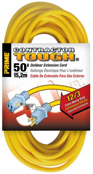 Prime Wire 50ft 12/3 SJTW Yellow Jobsite w/ Primelight Indicator Light