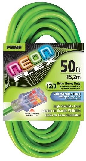 Prime Neon Flex Cords - 50ft 12/3 SJTW Neon Green
