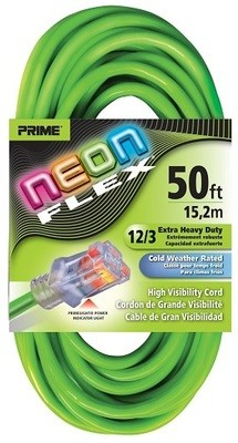 Prime Neon Flex Cords - 50ft 12/3 SJTW Neon Green