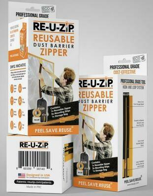 RE-U-ZIP Reusable Dust Barrier Zipper- Starter Kit