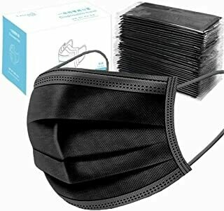 Disposable Surgical Mask, Black (50 pack)