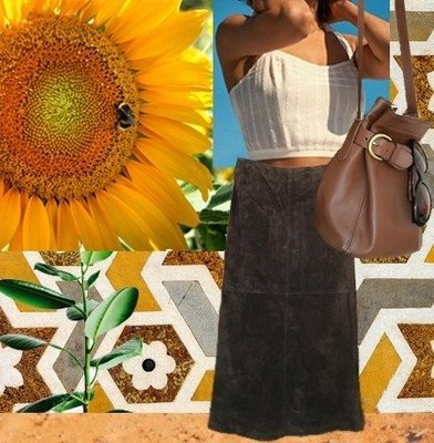 Peace, Love and Patchwork Suede Skirt