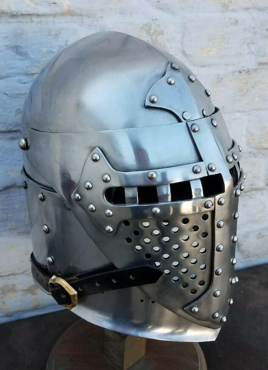 (NMC) Mid 14th Century Visored Sugarloaf Helm (2nd Quality)
