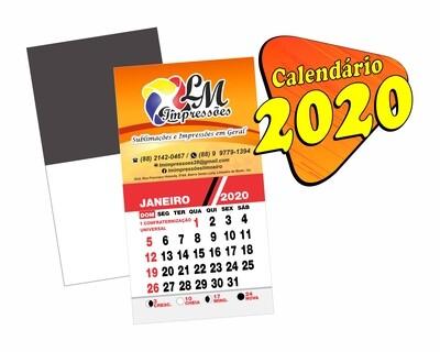 CALENDÁRIOS 2020 ÍMÃS DE GELADEIRA-CORTE RETO COUCHÊ 275G-SEM VERNIZ-100 unds