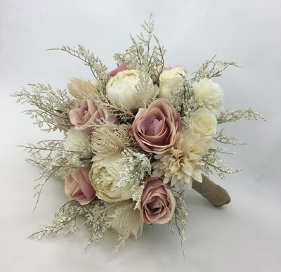 Hand-tied artificial flower dusty pink roses bridal bouquet