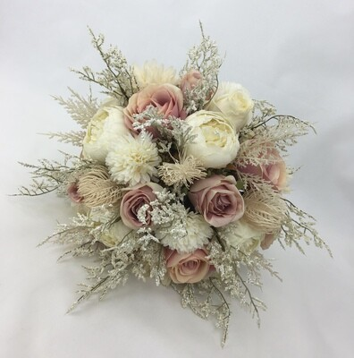 Hand-Tied Artificial Flower Dusty Pink Rose/Peony with Dry-look Flower Fillers Bridal Wedding Bouquet.