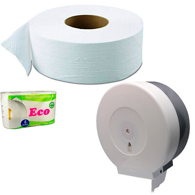 Papel baño 400 mts y dispensador desde
