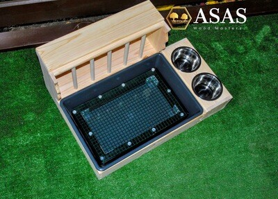 Large Rabbit Hay Feeder With Litter Box and food / drink bowls stand and Wire mesh