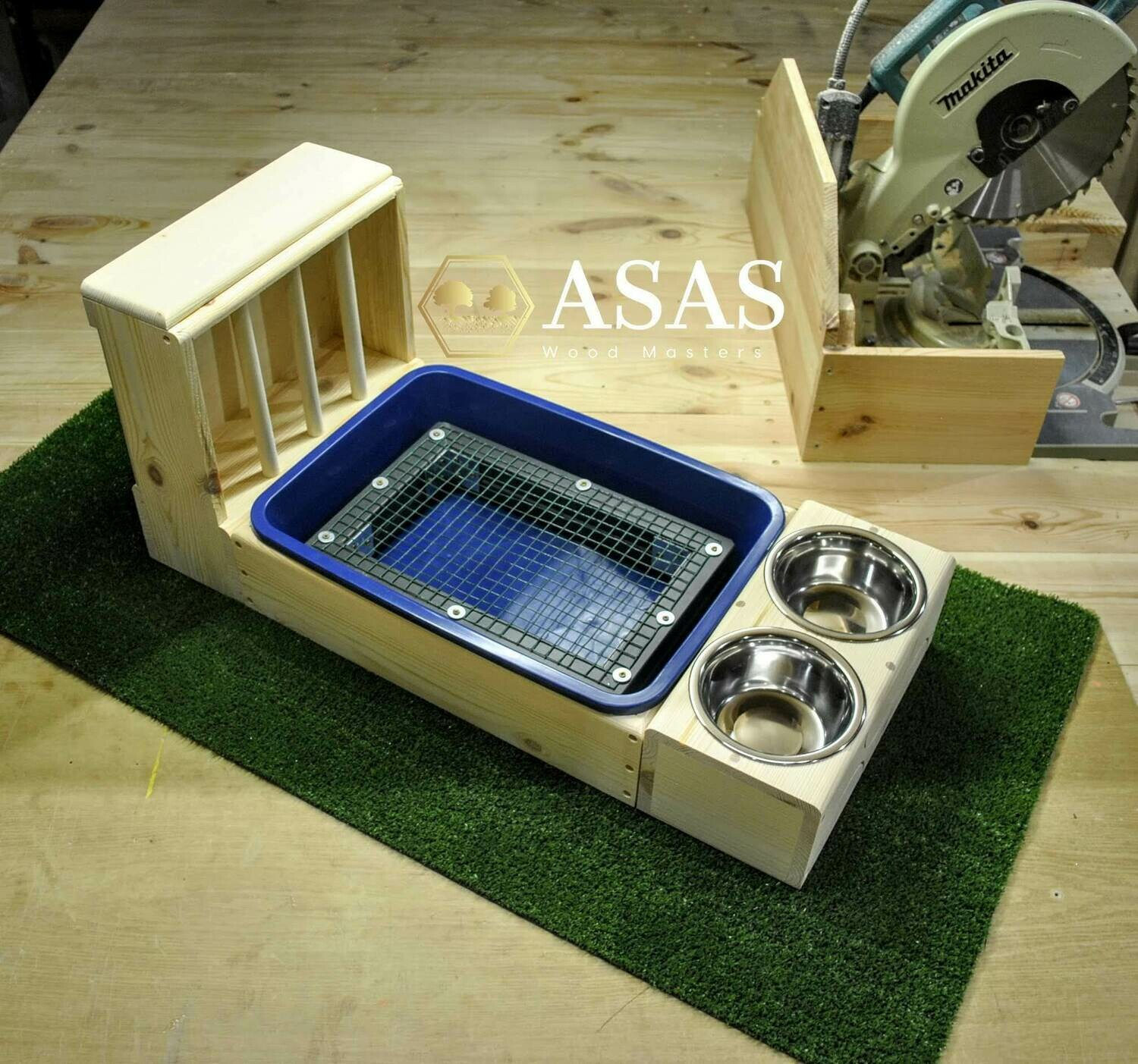 Rabbit Hay Feeder With Litter Box, Food/drink bowls stand and Wire mesh