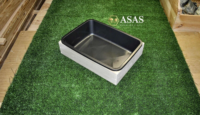 Wooden litter box with plastic tray - Medium