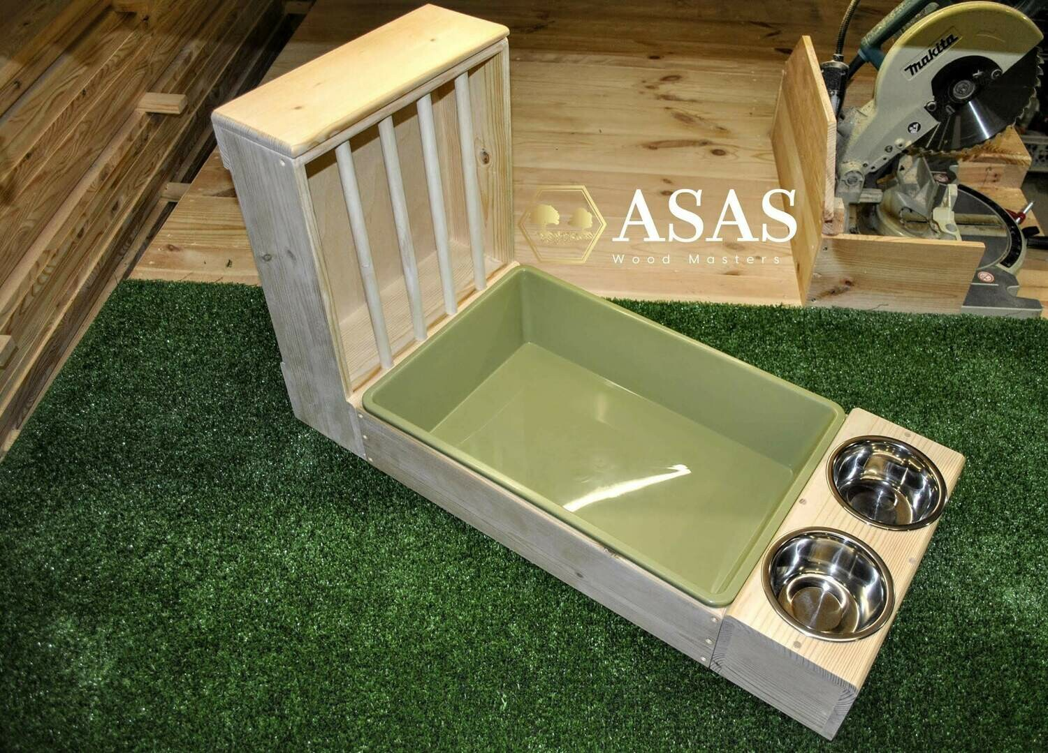 XL Rabbit Hay Feeder With Litter Box and Food/Drink bowls