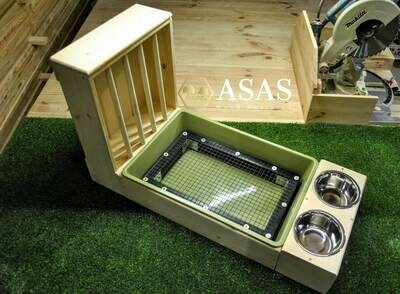 XL Rabbit Hay Feeder With Litter Box and Food/Drink Bowls, Wire mesh.
