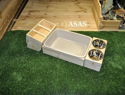 Rabbit Hay Feeder Low With Litter Box and Food/Drink bowls