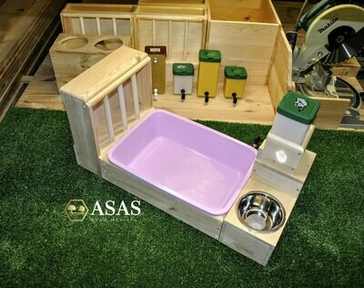 Rabbit Hay Feeder With Litter Box, food bowl and Drinking Nipple bottle station Combo