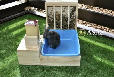 Rabbit Hay Feeder With Litter Box, Food bowl and Drinking bottle