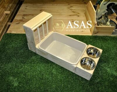 Rabbit Hay Feeder With Litter Box and Food/Drink bowls