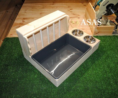 Large Rabbit Hay Feeder With Litter Box and food / drink bowls stand