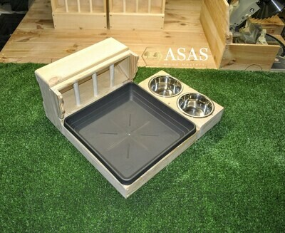 Guinea pig, Dwarf Rabbit Hay Feeder With Litter Box and food / drink bowl stand