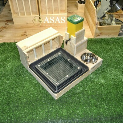 Guinea pig, Dwarf Rabbit Hay Feeder With Litter Box, Wire mesh, food bowl and Drinking Nipple bottle station Combo