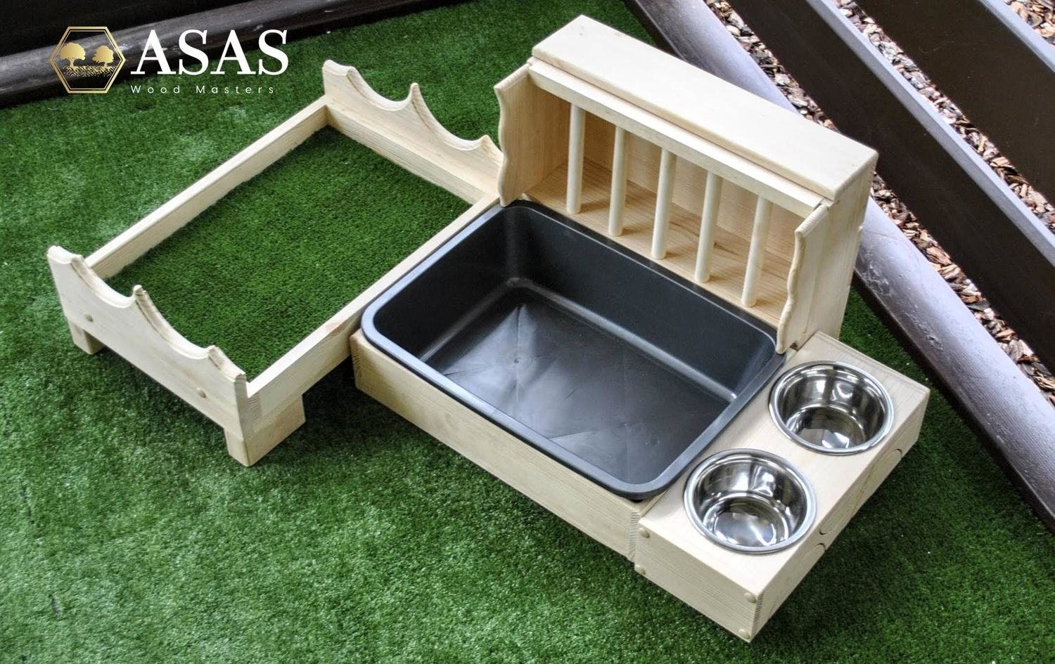 Bunny Rabbit furniture set Hay Feeder With Litter Box, 2 x Food bowls