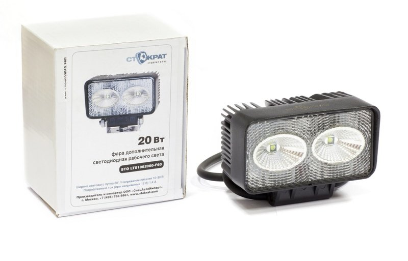 Фара дополнительная светодиодная прямоугольная рабочего света 20 Вт, 60 градусов.