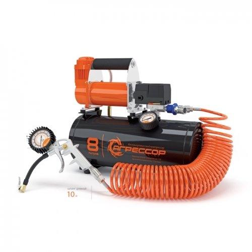 Автомобильный компрессор агрессор с ресивером 8 л agr 8lt