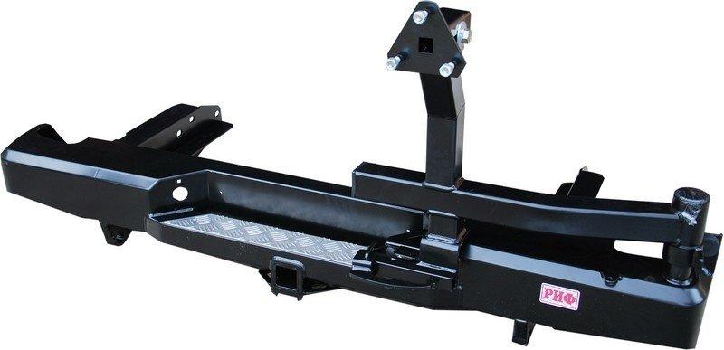 Бампер задний силовой с квадратом и калиткой РИФ NP300 кузов 1385 мм.