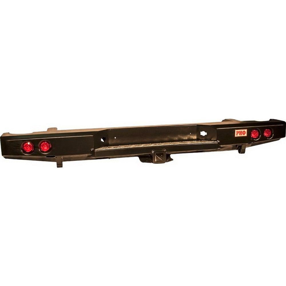 Бампер задний силовой с квадратом и фонарями РИФ Navara D40