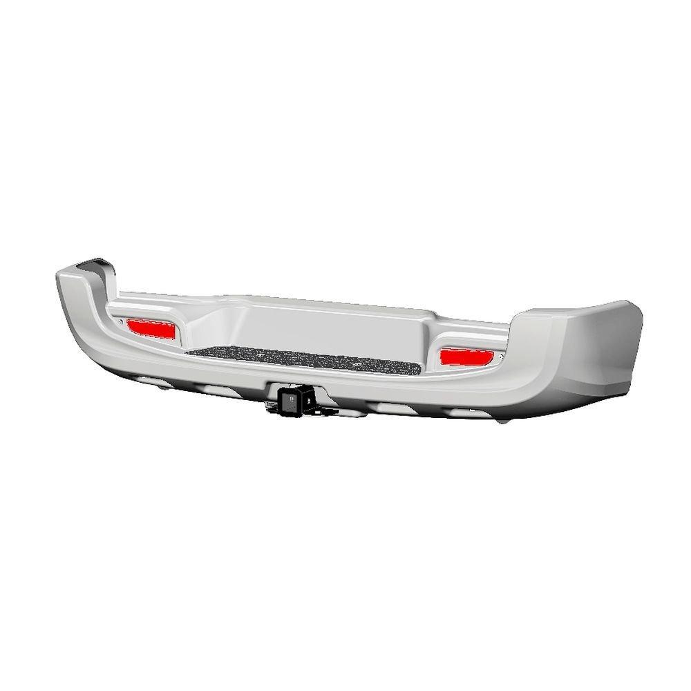 Бампер задний с квадратом под дополнительное оборудование Toyota Hilux 2015- (белый)