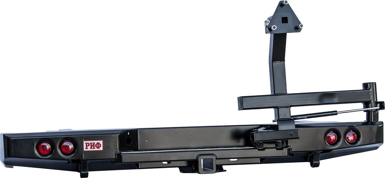Бампер задний силовой для Nissan NP300 РИФ с квадратом, калиткой и фонарями до 2010гв