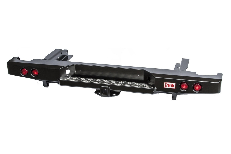 Бампер задний силовой для Nissan NP300 РИФ сквадратом и фонарями до 2010гв