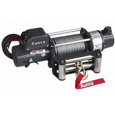 Лебёдка электрическая 12V Runva 12500 lbs 5720 кг (влагозащищенная, синтетический трос)