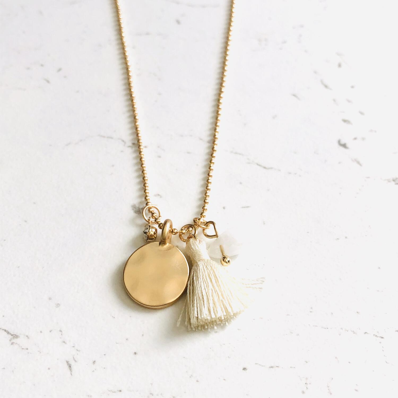 Billie Tassel Necklace Cream