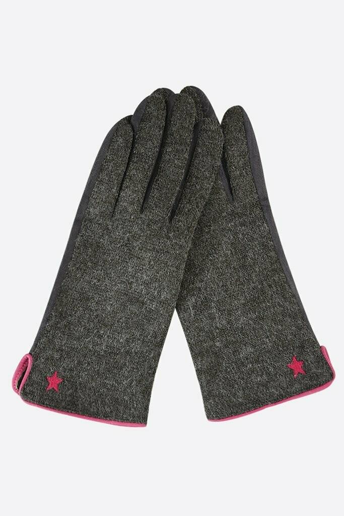 Grey & Pink Touchscreen Gloves