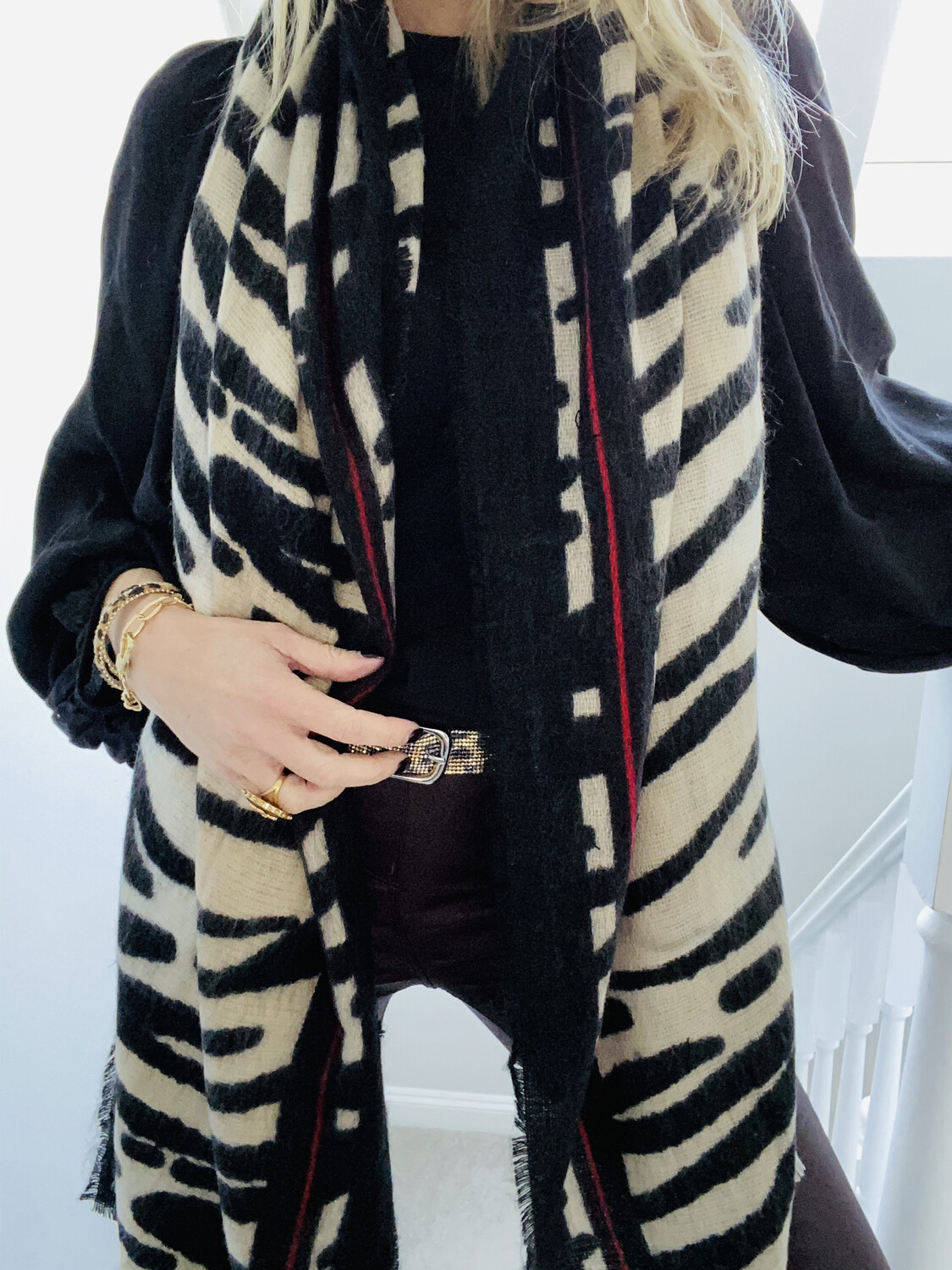 Zebra & Red Blanket Scarf