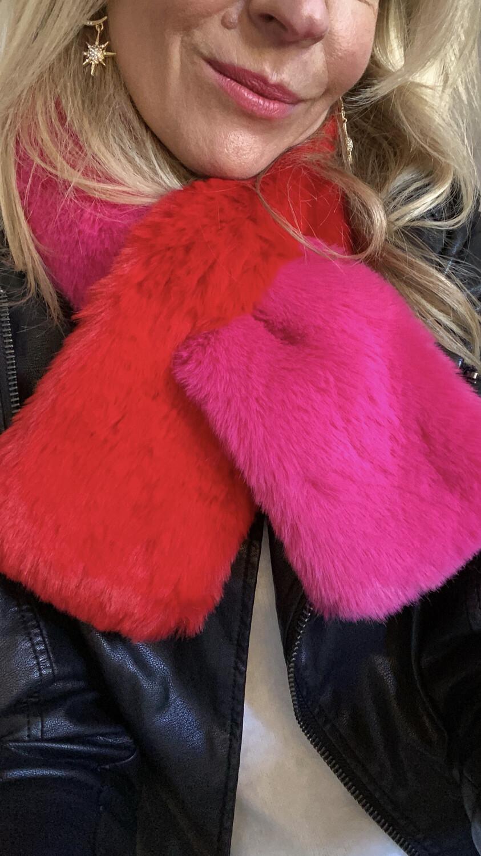 Faux Fur Scarf Red & Fuchsia